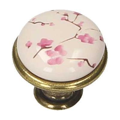 Nábytková úchytka porcelánová 1901-17 starozlatá