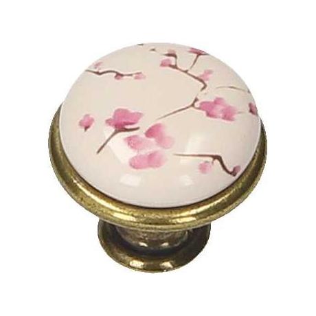 Nábytková knopka porcelánová 1901-17 starozlatá