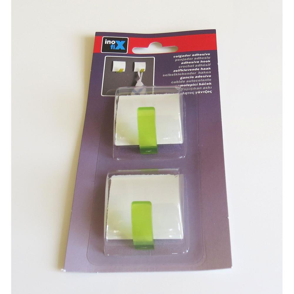 Samolepicí háček bílý-zelená 2ks