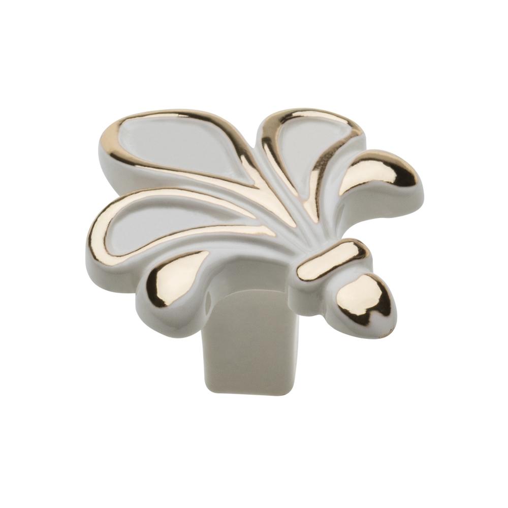 Nábytková knopka kovová Royal3 bílá/zlatá