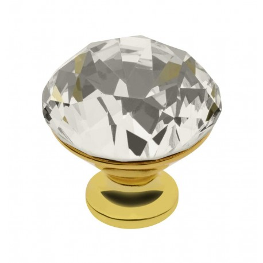 Nábytková knopka Crystal 03 / křišťál - zlatá