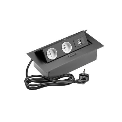 Výklopná zásuvka - hliníková USB PBU2GU černá